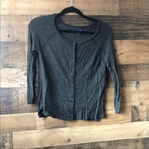 American Eagle Grey Wool Blend Fitted Cardigan